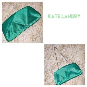 NWOT Kate Landry Green Pleated Clutch